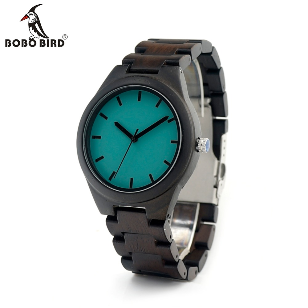 BOBO BIRD Men's Top Brand Design Wood Watch with Full Wooden Link Casual Wristwatch in Gift Box bobo bird wh05 brand design classic ebony wooden mens watch full wood strap quartz watches lightweight gift for men in wood box