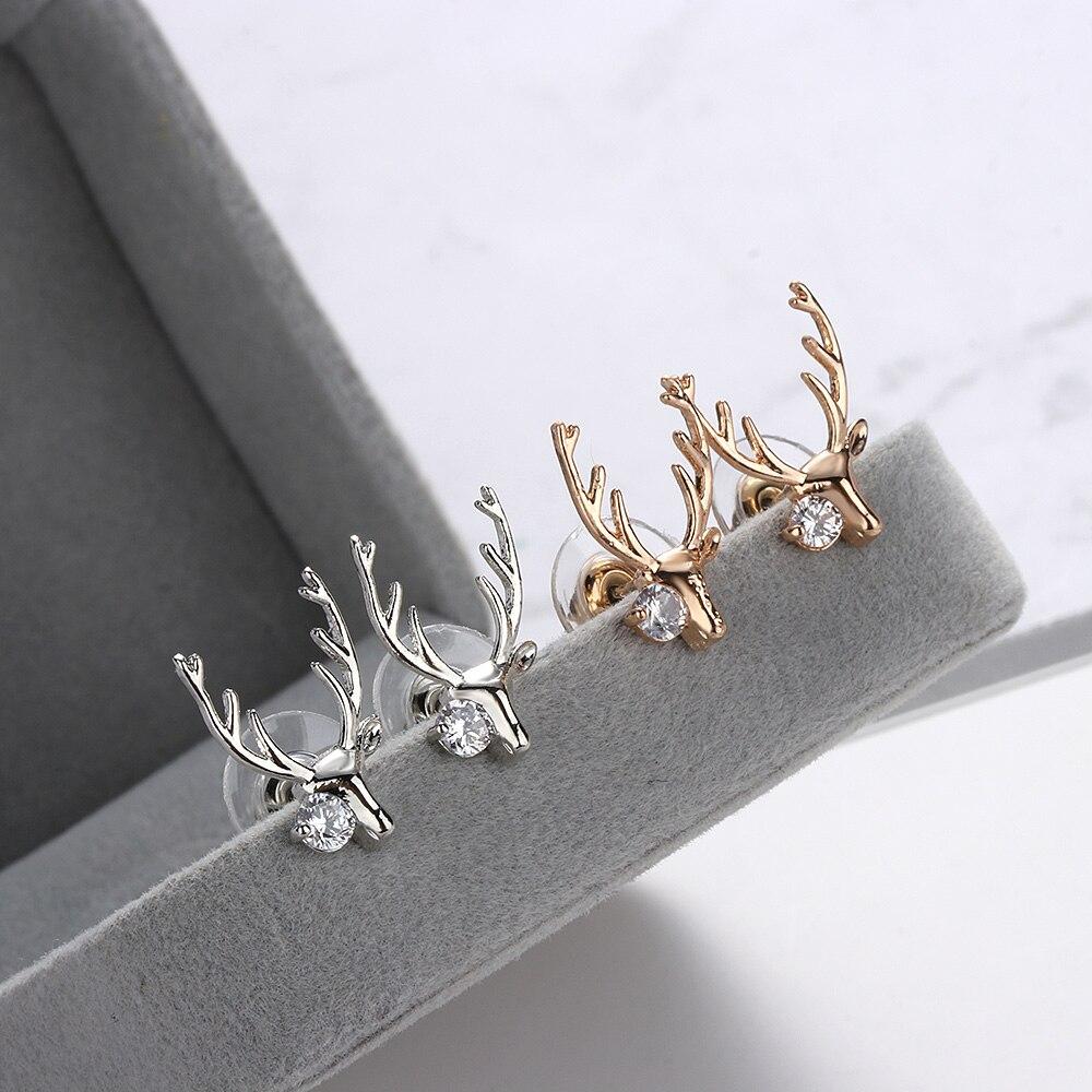 Silver Earrings Geometric Exquisite Christmas Deer Stud Earrings Reindeer Pattern Party Elegant Rose Gold Jewelry Women Gift