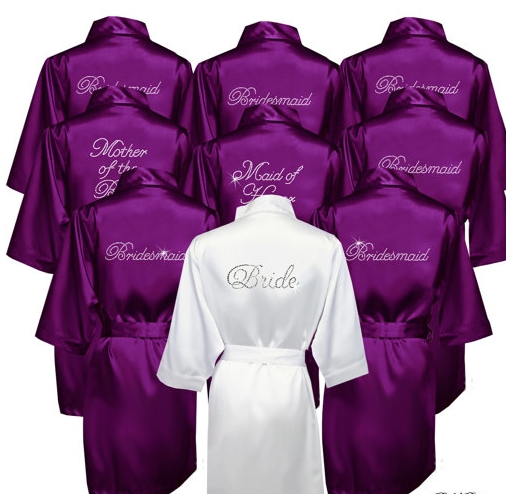 4 Colors Silk Robe Satin Silk Wedding Bride Bridesmaid Robes,White ...