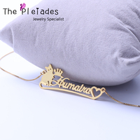 Gold Plated Name Necklace With Cat Heart Deco Personalized 925 Sterling Silver Nameplate Necklace Box Chain