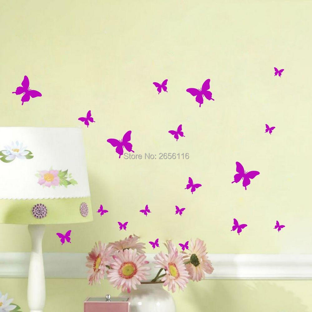 Online get cheap decorating girls room for Butterfly wall mural