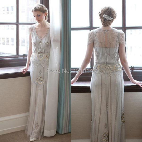 2015 Fashion Jenny Packham Eden V Neck Floor Length with Beads and ...