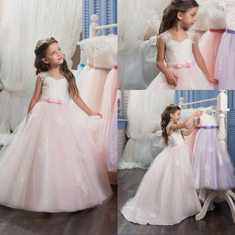 2017 Pink   Flower     Girl     Dresses   Sleeveless Appliques O-Neck Ball Gown First Communion   Dresses   Vestidos Longo Custom Make New Hot