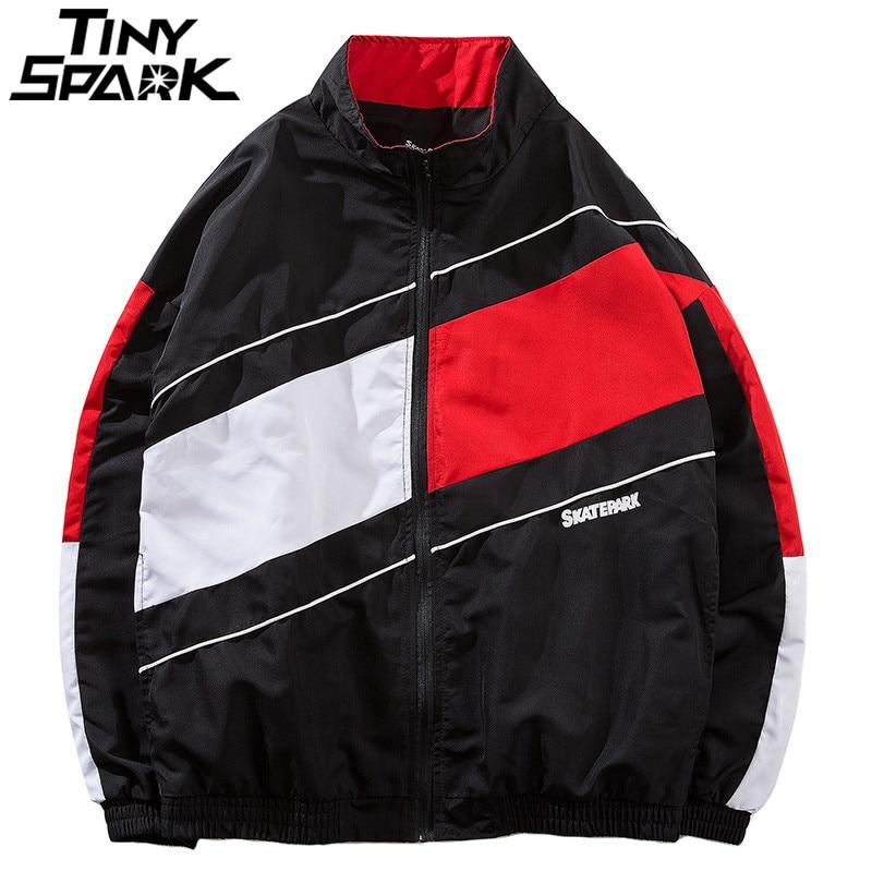 Vintage Color Block Patchwork Windbreaker Jackets Hip Hop Men Zipper Up Track Jacket 2018 Autumn Casual Streetwear Coat Harajuku