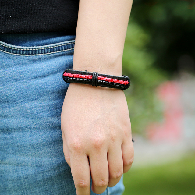 Red and Black Braided Hemp Matched with Vintage Genuine Leather
