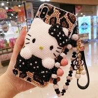 עבור iphone 8 8 בתוספת בלינג בלינג 3D Crystal הלו קיטי קרושון DIY מקרה טלפון עבור iphone X 7 7 פלוס 6 6 s 6 בתוספת כיסוי יוקרה