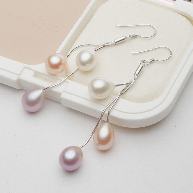 2019 nouvelle mode mixte couleur Triple suspendus naturel perle d'eau douce oreille goutte oreille crochet en argent Sterling cadeau