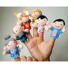 Home Education 6Pcs/lot Family Finger fantoches de dedo Puppets Cloth Doll Baby Educational Hand Toy Story Kid
