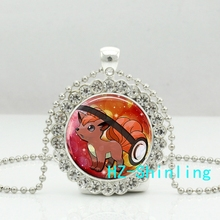 New Fashion Vulpix Pokeball Pendant Necklaces Cute Pokemon Crystal Necklace Glass Anime Picture Jewelry Accessories Ball Chain