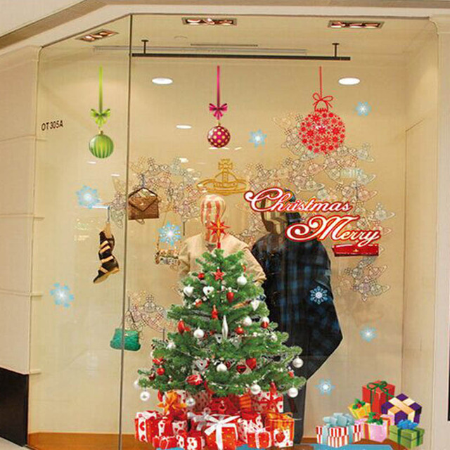 Christmas Tree Wall Decal Shop Window Decor DIY Xmas Decorations-in ...