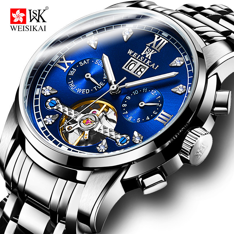 WEISIKAI Tourbillon Automatic Watch Men Stainless Steel Mechanical Watches Mens Waterproof Wristwatch Male Clock montre homme mechanical watch seiko mineral business stainless steel automatic waterproof watch men fashion watches quality clock wristwatch page 5