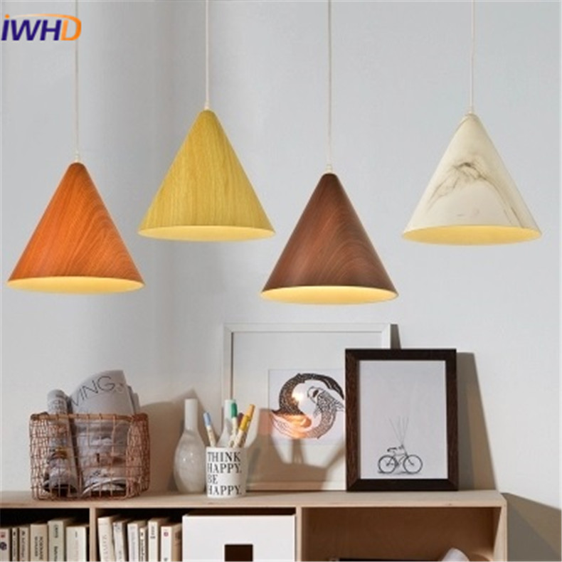 Nordic Wood Grain Pendant Lights LED Aluminum Lampshade Colorful Modern Pendant Lamp For Home Lighting E27 Base Light Fixtures colorful stripes wood grain flannel area rug