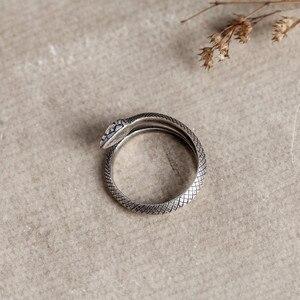 Image 5 - Zavorohin Vintage véritable 925 en argent Sterling ouverture réglable serpent bagues personnalité Animal bijoux comme cadeau