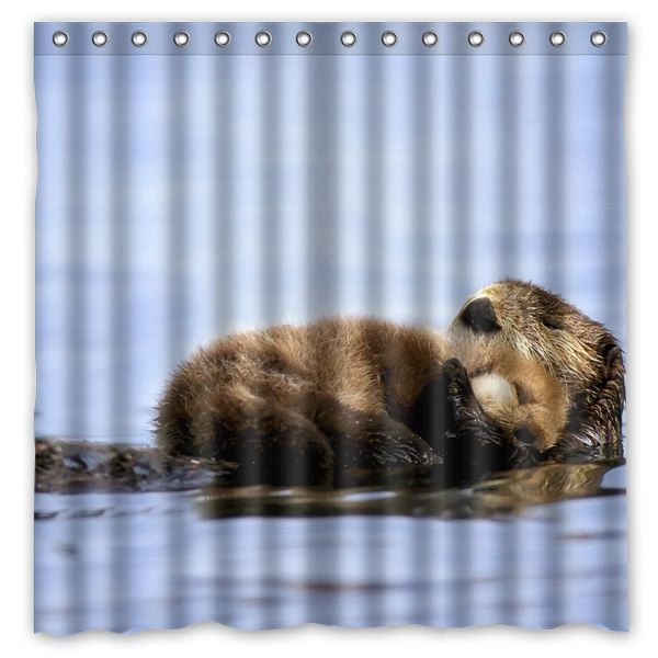 Online Shop Sea Otter Waterproof Fabric Bath Shower Curtain Mildewproof Polyester Bathroom Curtains With Hooks 72x72