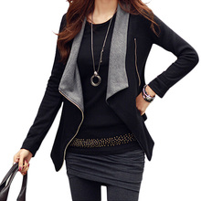 New Arrivel Women Korean Zipper Slim Casual Long Sleeve Jacket Outwear Coat S/M/L/XL
