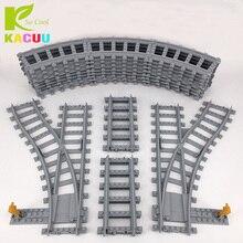 KACUU Train Tracks Building Blocks Straight & Curved & furcal & soft Tracks Compatible Legoe City Blocks Toys for Children Gifts