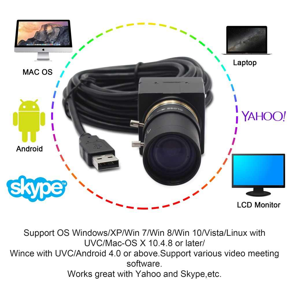 1080P USB Webcam 5-50mm CS Mount Varifocus lens CMOS OV2710 MJPEG  30fps/60fps/120fps USB Camera chamber for Computer PC Laptops
