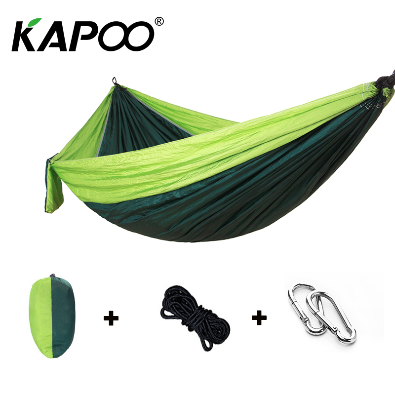Green Portable Leisure Outdoor Hammock Outdoor Furniture Camping Hammock Picnic Mat Garden Swing Chair Single Double Hammock army green khaki double outdoor hammock