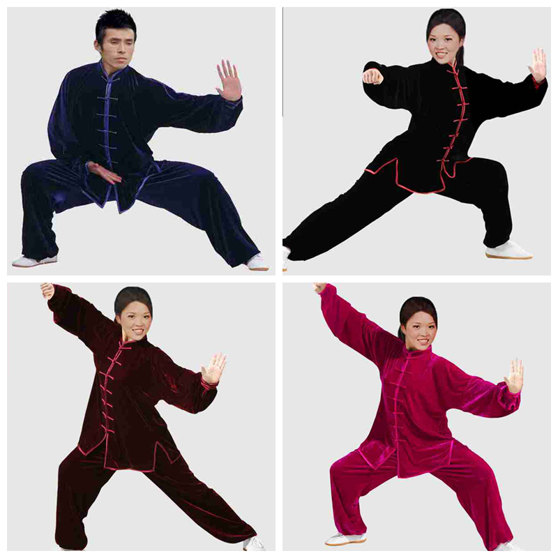 ФОТО YZL23 Autumn and winter thicken thermal gold tai chi clothing Chinese Kung fu suit male Women tai chi clothing martial art suit