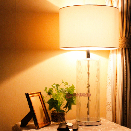Bedroom lamp bedside lamp decorative lamp export Continental Hotel Project Hardware bark pattern glass table lamp