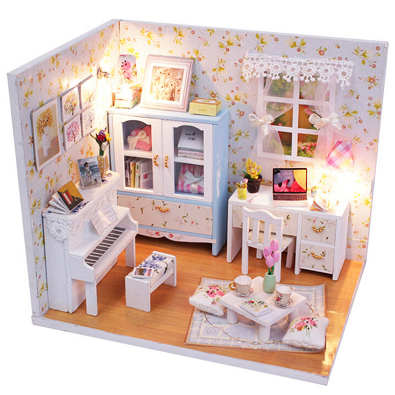 DIY Wood Doll House Piano Music Theme Houses,3D Wooden Dollhouse Miniature  Furniture Miniature Toys For Children Birthday Gift In Doll Houses From  Toys ...