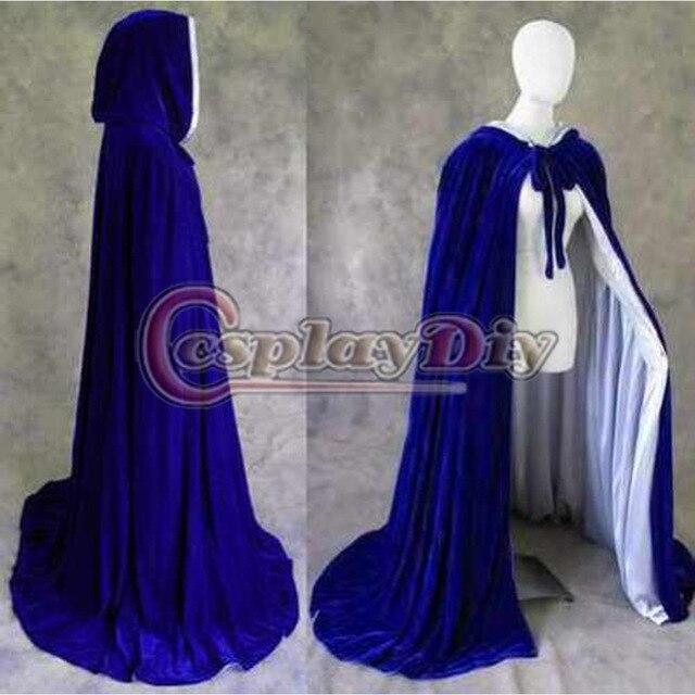 Forrado de Terciopelo Azul Satén Capa Medieval Brujería Wicca Cabo Mujeres Adultas Invierno Capa de Disfraces