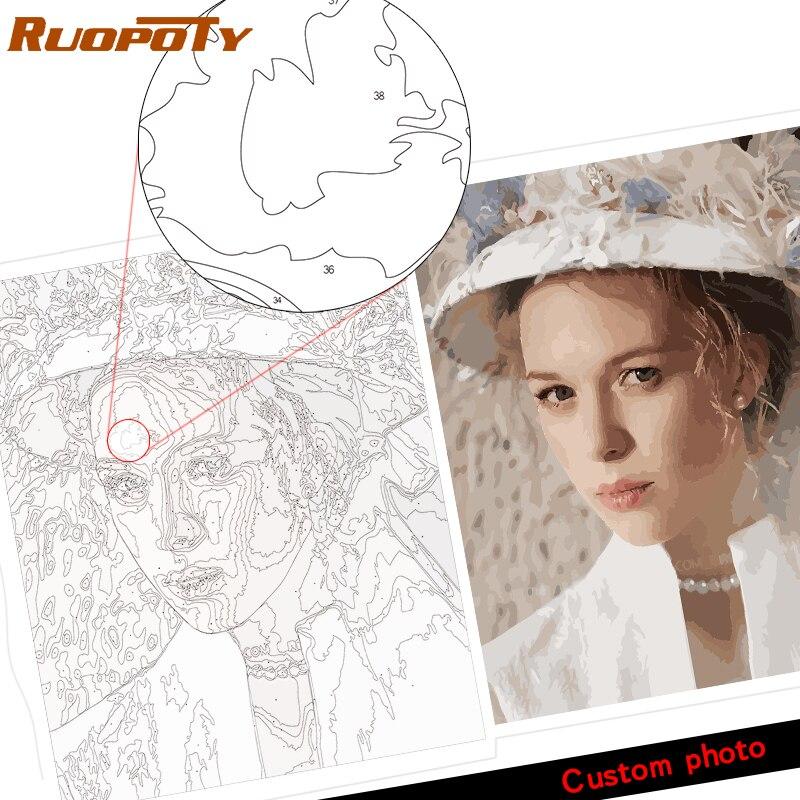 Personnalité Photo personnalisé votre propre bricolage peinture à l'huile par numéros image dessin toile Portrait mariage famille enfants Photos