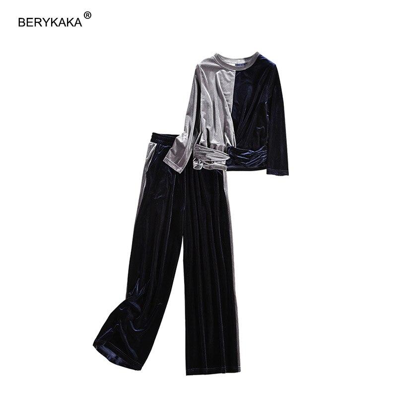 2018 New Plus Size Velvet Tracksuit Women Costume Velvet Set Long Sleeve Top+Pant Velour Tracksuit Sets for Women Sporting Suit