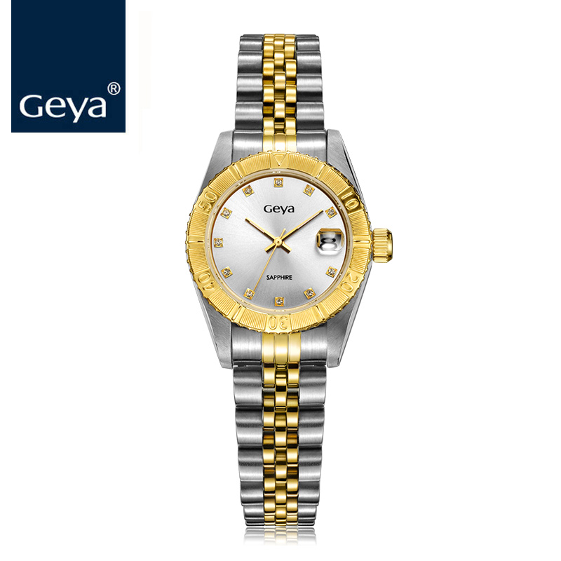 Geya Men Watches Gold Calendar Sapphire Glass Waterproof Luminous Luxury Role Watch Men's Quartz Wristwatches heren horloge 2016 wristwatches luxury brand men quartz gold watch sapphire leather strap watches men 12 month guarantee bg0389