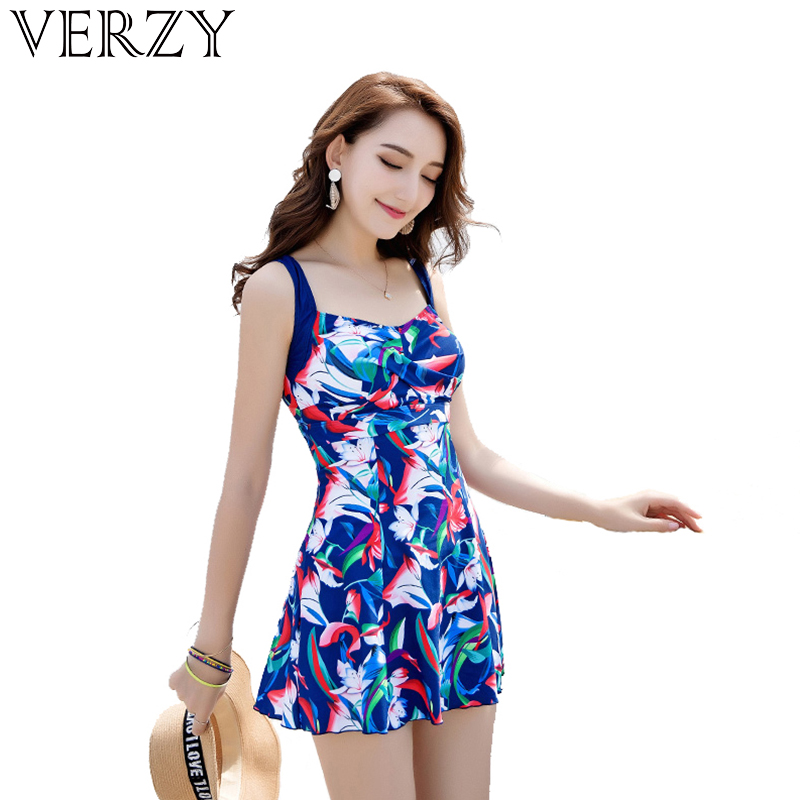 Print Floral One Piece Swimsuit Summer Dress Padded Widen Shoulder Strap Sexy Halter Plus M 4XL Skirted Bathing Suit