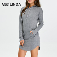 VESTLINDA Hooded Dresses Pocket Long Sleeve Sweatshirt Solid Gray Mini Dress Robe Femme Women Vestido De