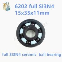 Free Shipping 6202 2RS Full SI3N4 Ceramic Deep Groove Ball Bearing 15x35x11mm 6202 2RS