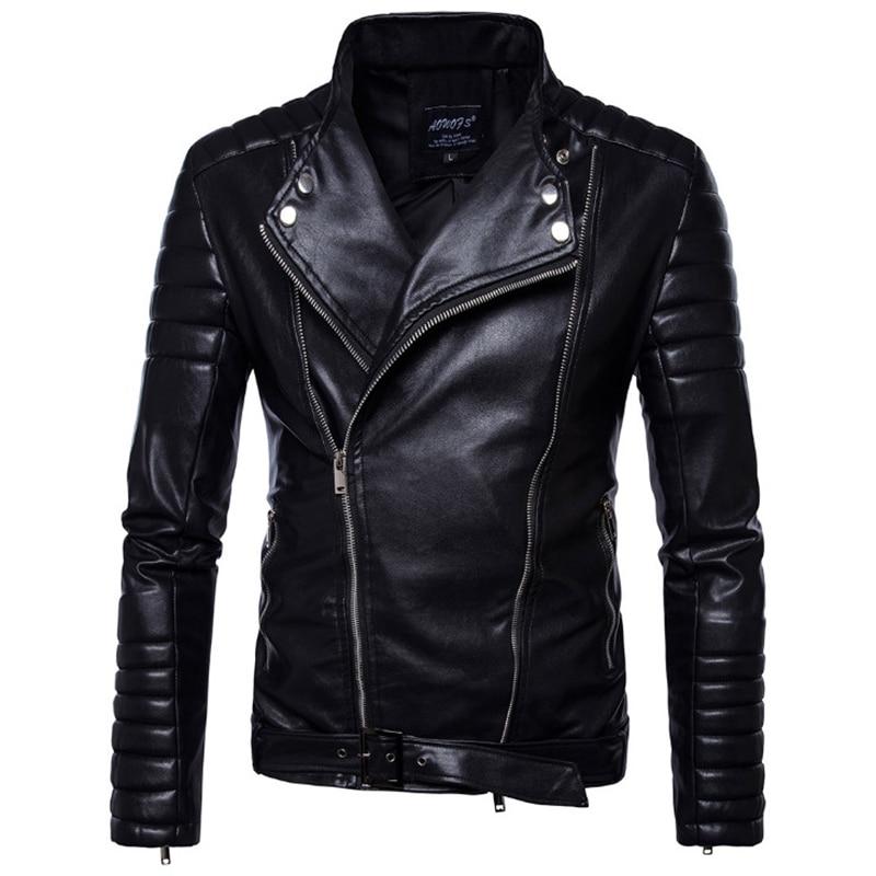 Classic Black Motorcycle Leather Jacket Men New British Style Multi-Zipper Leather Jacket Casual Biker Jacket Male Coat 5XL
