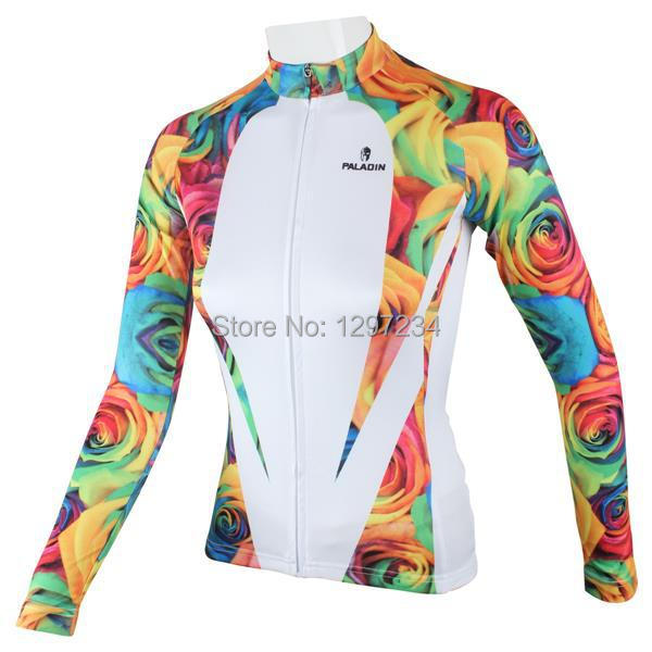 2016 girl s long sleeve beautiful rose blue yellow white bike shirt women s  cycle tops bike clothing-in Cycling Jerseys from Sports   Entertainment on  ... 0ab0bf377