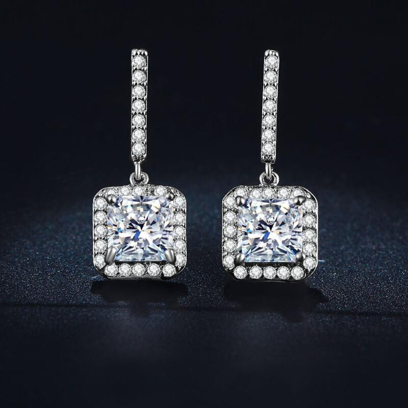 H:HYDE Luxury Silver Color Square CZ Zircon jewelry top quality Crystal Stud Earrings Wedding Brincos boucle doreille for Women