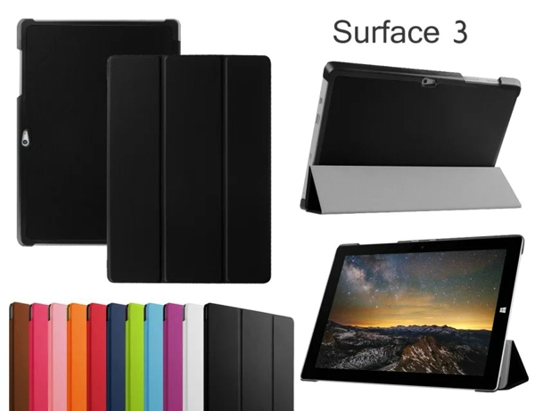New 3-Folder Ultra Thin Slim Magnetic Folio Stand Sleeve Leather Case Smart Cover For Microsoft Surface3 Surface RT 3 RT3 10.8