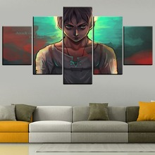 Wall Art Canvas Pictures HD Print Animation Poster Decor Framework 5 Pcs Attack On Titan Eren Yeager Painting Home Bedroom