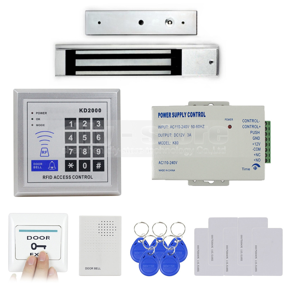 DIYSECUR RFID Keypad With Door Bell Button Access Control Security System Full Kit Set + 280KG Magnetic Lock KD2000
