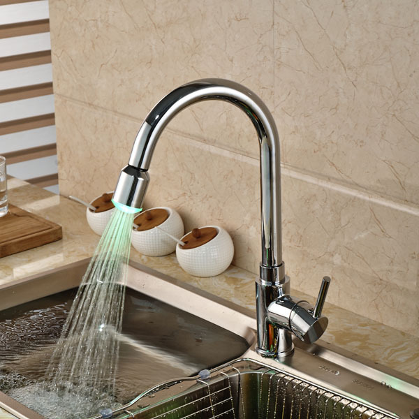 NEW Single Hole LED Kitchen Sink Faucet Single Handle Deck Mount Mixer Water Tap Chrome Brass micoe hot and cold water basin faucet mixer single handle single hole modern style chrome tap square multi function m hc203