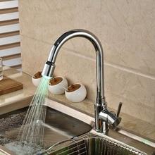 Новый одно отверстие из светодиодов кухонная раковина кран одной ручкой палуба гора водопроводной воды латунь