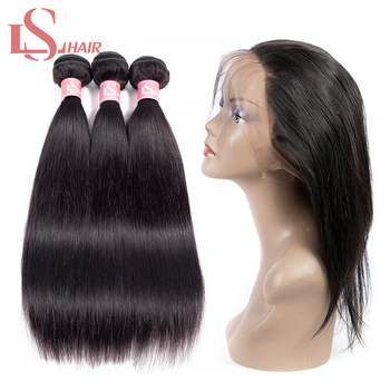LS Hair Peruvian remy human hair 3 bundles with lace frontal 360 closure 8-26inch pre-plucked freeshipping wholesale image