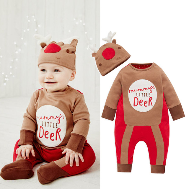 816ce6dcc Newborn Christmas Clothes Set 2016 Baby Boy Reindeer Costume Clothes Deer  Romper Jumpsuit+Hat Outfits