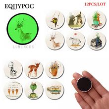 Cartoon Animal Fridge Magnet Glass Parrot Elk Cat Zebra Rabbit Duck Giraffe Luminous Stickers for Refrigerator Home Decor