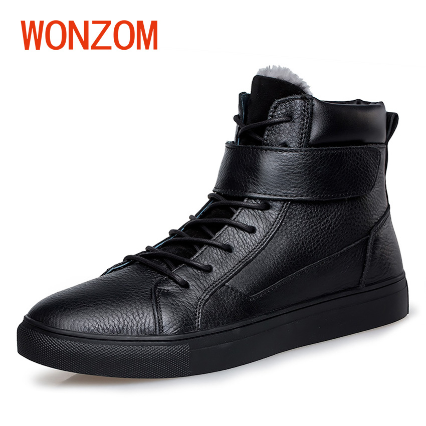 WONZOM Winter Men High Quality Genuine Leather Ankle Boots Fur Thermal Warm Snow Shoes 2018 Fashion Black Boots Plus Size 38-48 men boots 2015 men s winter warm snow boots genuine leather boots with plus velvet shoes high quality men outdoor work shoes