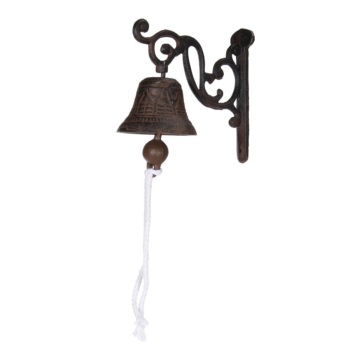 Vintage Style Brown Metal Cast Iron Door Bell Wall Mounted Garden Decoration