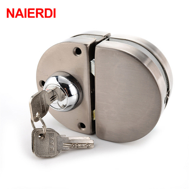 NAIERDI Double Glass Door Lock 304 Stainless Steel Double Open Frameless Door Latches Hasps For 10-12mm Thickness Hardware mtgather glass door lock stainless steel 12mm door lock double swing hinged frameless door 2 keys wtith screws
