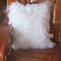 Двойными бортами монгольского ягненка Подушки Детские Обложка Белый Натуральный мех Чехлы для подушек декоративные Подушки Чехлы для манг
