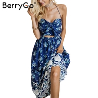 BerryGo Bow Backless Halter Long Dress Vintage Print Beach Summer Dress Women Chiffon Flower Lace Up