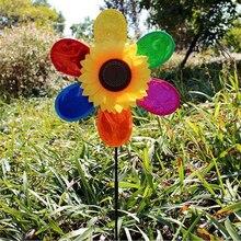 Ребенок DIY Красочные Блестки ветряная мельница в виде подсолнечника игрушка для детей на открытом воздухе игрушка садовый Декор подарок для детей