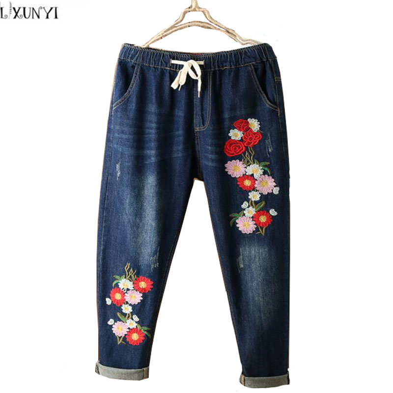 National Style Flower Embroidered jeans Women Washing Drawstring   Denim Pants For Ladies Elastic Waist Trousers Female 2017 spring new embroidered jeans color embroidered national wind low waist jeans trousers
